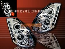 FIT FOR 03-05 INFINITI G35 PROJECTOR LED HEADLIGHTS 2 DOOR CCFL HALO CHROME