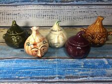 More details for vintage rare onion crying face pot head pot  ceramic novelty bundle x5