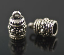 10Pcs Silver End Caps Bead Stopper Fit 4mm Leather Cord DIY Bracelet Jewelry