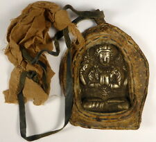 OLD TIBETAN BRONZE CHENREZIG QUAN YIN BUDDHA PORTABLE GHAU AMULET