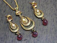 Beautiful Designer Polki Kundan Stunning Handmade Filigree Pendant Earring Set