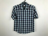 Vintage Wrangler Shirt Size XL Short Sleeve Pearl Snap Blue Plaid Western Mens