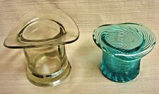 2 Vintage Glass Top Hat Candle Holders - Turquoise Rib by Avon & Clear Unmarked