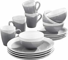 American Atelier Oasis Round Plates Bowls Mugs 16 PIECE Dinnerware SET, Charcoal