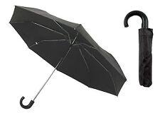 "Black Mens / Gents Compact Umbrella with Hook Handle ~ 35"" Diameter"