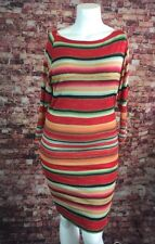 Polo Ralph Lauren Red Green Orange Blue Striped Knit Shift Dress M