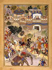 Dipinto Scena di guerra Akbar TRIUMPH Surat ELEFANTE India Arte Poster Stampa lv6915