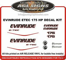 EVINRUDE ETEC 175 HP OUTBOARD DECALS STICKERS REPRODUCTIONS E-TEC 150 200
