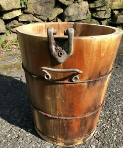 Antique Vintage White Mountain Freezer Wooden  Crank Ice Cream Maker BUCKET PART