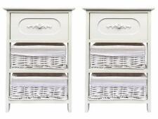 Set of 2 Large White 3 Commode Tiroir Couloir Chambre Table De Chevet Armoire