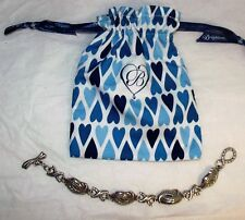 Authentic Brighton Silver Braided Link Bracelet + Fabric Pouch