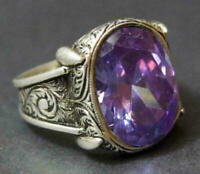 Sterling Silver Natural Certified 9 Ct Amethyst Handmade Christmas Mens Ring