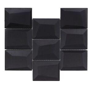 Modern Squares Black Glossy Glass Mosaic Backsplash Tile Bathroom Wall MTO0144