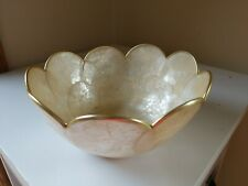 Vintage Capiz Oyster Shell Decorative, Snack Size Gold/Brass Trimmed Bowl