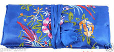 Chinese Silk Wrap Organizer Jewelry Roll Travel Makeup Bag Case Pouch Blue
