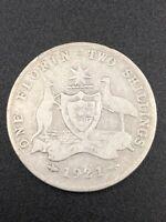 1921 Australia Florin 92.5% Silver Pre Decimal King George V Coin