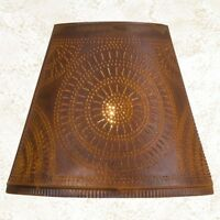 Fireside new 14-inch Lamp Shade with Chisel in Distressed Rusty Tin