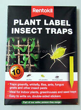 Plant Label Sticky Yellow Insect Fly Traps Pack 10 Indoor Outdoor Greenhouse