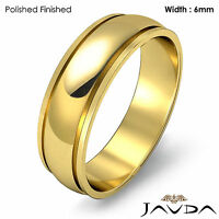 Wedding Band 6mm Women Solid Dome Step Plain Ring 18k Yellow Gold 5.2g Sz 4-4.75