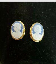 14k Gold Blue Cameo Earrings