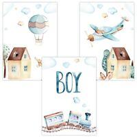 3er Set Wandbilder Baby Kinderzimmer Poster W09 Boy Heißluftballon Zug Flugzeug