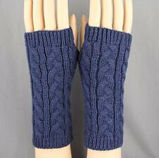 Navy Blue cable knit arm warmer fingerless gloves warmers open thumb texting