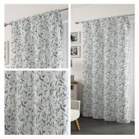Grey Voile Curtain Freya Floral Leaf Panel Ready Made Rod Slot Top Curtains