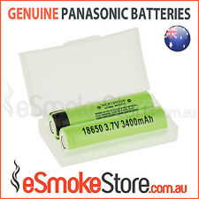 2 x Panasonic NCR 18650 B 3400Ah Flat Top Lithium Li-Ion Batteries + Free Case