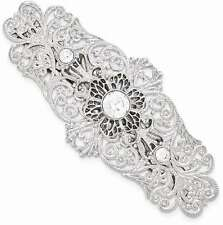 1928 Jewelry - Silver-tone White Crystal Filigree Large Barrette