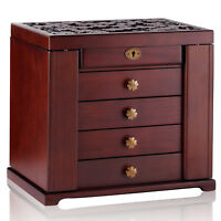 Wood Vintage Armoire Jewelry Box Mirror Necklace Rings Storage Organizer Gift 11