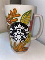 Starbucks Autumn Coffee Tea Cup Mug Fall Leaves White Ceramic 16 Oz - 2016