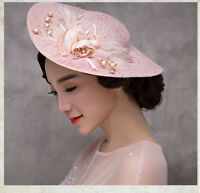 New Pink Lace Charming Women's Wedding Party Hat Prom Evening Formal Cap Veil