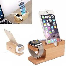 New Bamboo Charging Dock Charger Holders Stand For Apple Watch iPhone 6S Plus UP
