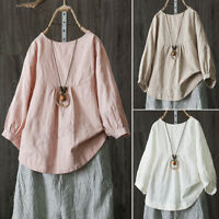 Women 3/4 Lantern Sleeve Casual Plain Shirt Tops Round Neck Oversize Blouse Plus