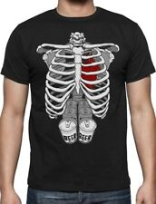 Halloween Skeleton Six Pack Beer Party Abs Xray Funny Costume T-Shirt Rib Cage L