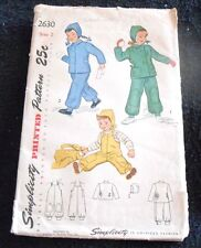 Simplicity Pattern 2630 Child's Snow Suit and Helmet ©1948 Size 2 - Unused Uncut