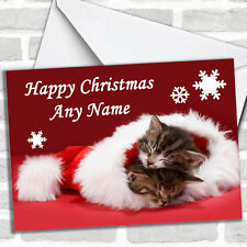 Two Kittens Sleeping In Hat Christmas Customised Card Personalized