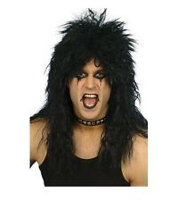 Punk Heavy Metal Rocker Black Wig 80s Kiss Slash Rock Star Costume Party Wig