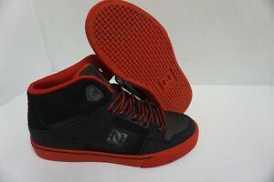 Garçons DC skate shoes spartan high Noir Rouge Taille 5 Jeunesse US
