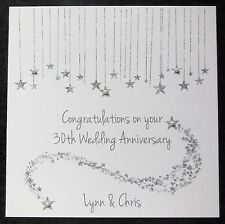 Personalised Handmade 30th Pearl Wedding Anniversary Card