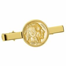 NEW American Coin Treasures Gold-Layered Buffalo Nickel Goldtone Tie Clip 13778