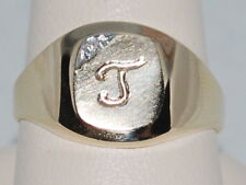 """10k Gold Signet ring with the a diamond and letter """"J"""""""