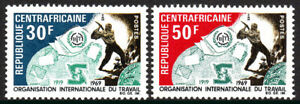 Central Africa 116-117, MNH. ILO, 50th anniv.BIT and ilo Emblems and Worker,1969