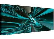 Teal Cheap Canvas Picture of Abstract Contemporary Panoramic 1017