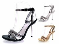 Womens Diamante Bridal Wedding Shoes Mirrored Strappy High Heels Size UK 3 to 8