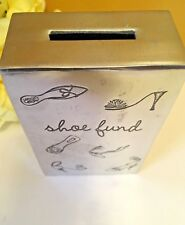 "BRUSHED ALUMINIUM COIN BANK SCREW BOTTOM ""SHOE FUND"" Made in India  5""x 3"" Cute"