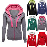 Womens Zip Up Long Sleeve Hooded Hoodie Sweatshirt Jacket Sport Gym Coat Outwear