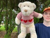 VERY RARE Gund Cream Teddy Bear w/Knit Heart Sweater Plush Stuffed Animal Toy