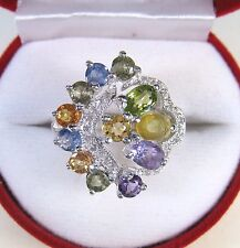 4.17 CTW FANCY SAPPHIRE & GEMSTONE RING sz 7.75 WHITE GOLD over 925 SILVER