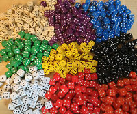50 x 10mm Opaque Six Sided Spot Dice Games D6 9 Colours D&D RPG